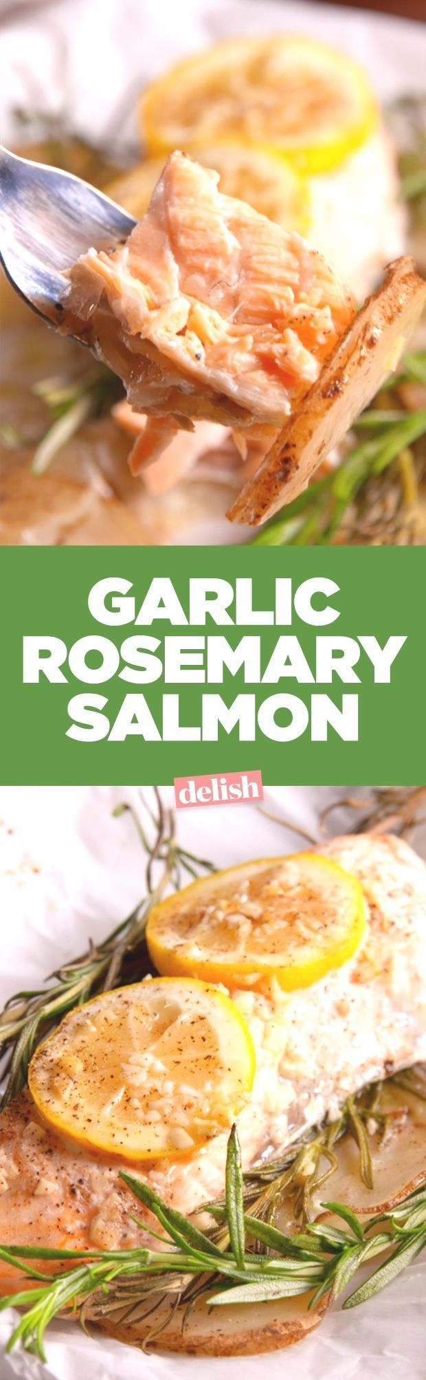 This garlic rosemary salmon is the fancy dinner you can actually make at ho... This garlic rosema