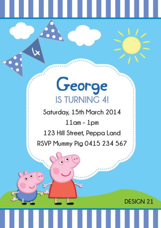 Peppa Pig George Pig Birthday Party Personalised Invitations