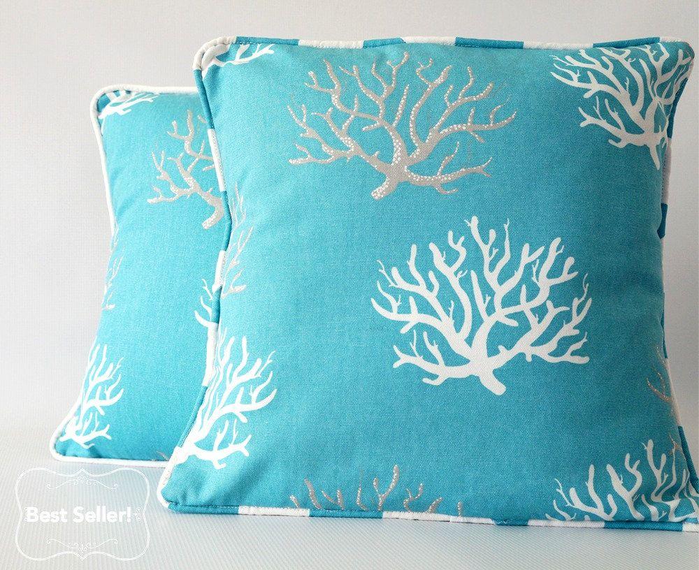 Blue Pillow Teal Cover Beach Decor C