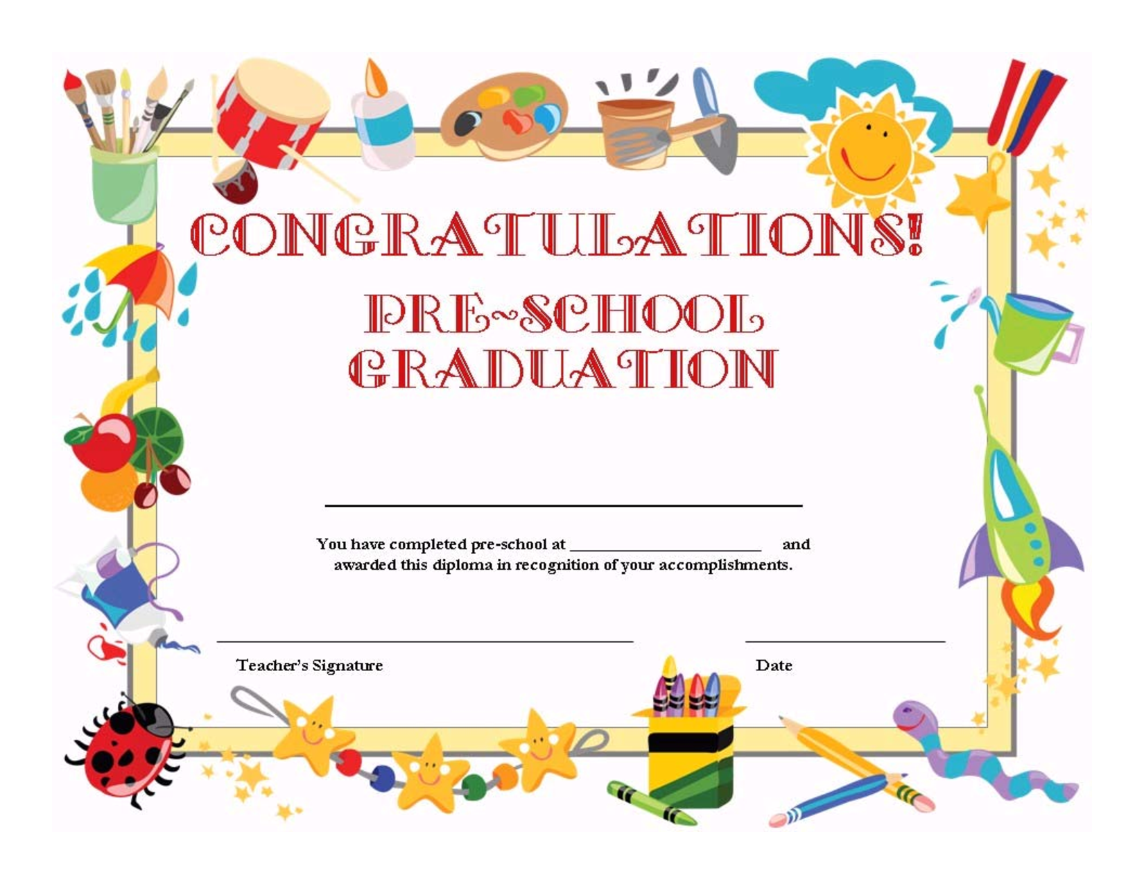 Preschool Graduation Certificate Template Free