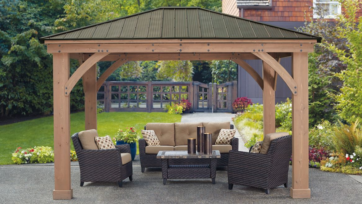 12 X 14 Wood Gazebo With Aluminium Roof Yardistry Outdoor Pergola Patio Gazebo Pergola Patio