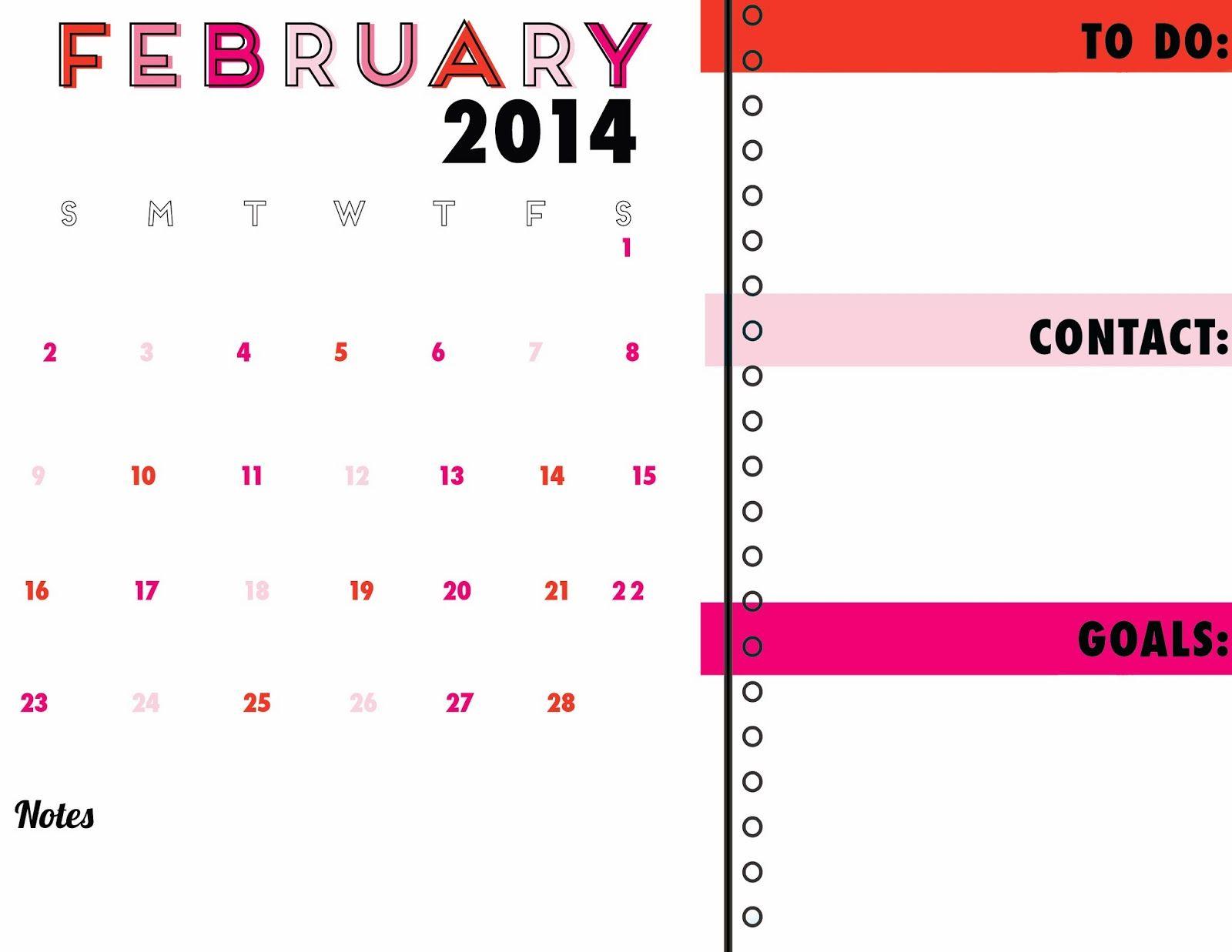 #february #2014 #calendar #printable #free #downloadable #pdf #organizer