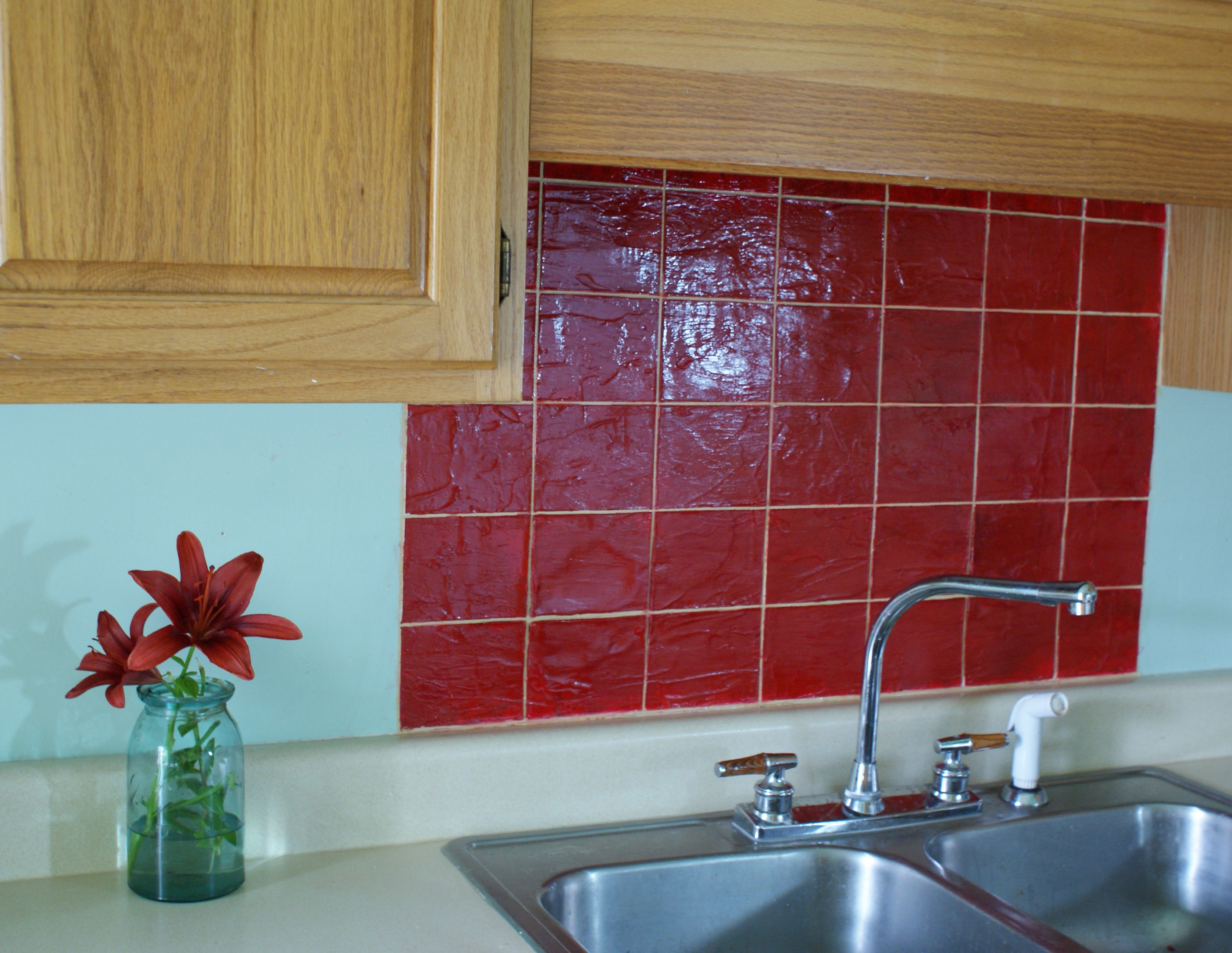Faux Tile Kitchen Backsplash Faux tiles, Kitchen tiles