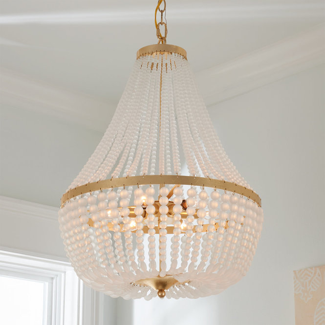 Sophisticated Sophie Chandelier Small Small Chandelier White Bead Chandelier Modern Chandelier Foyer