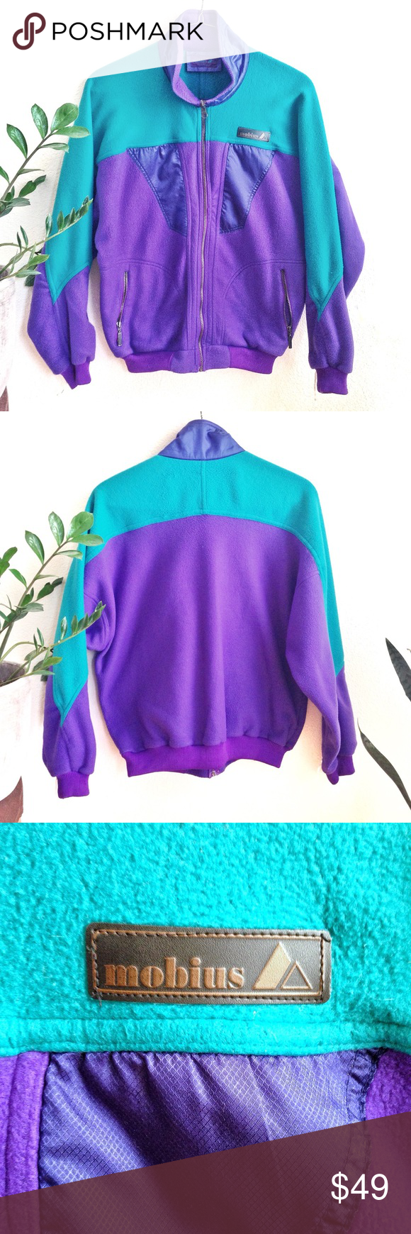 Vtg mobius s color block fleece gaper ski jacket