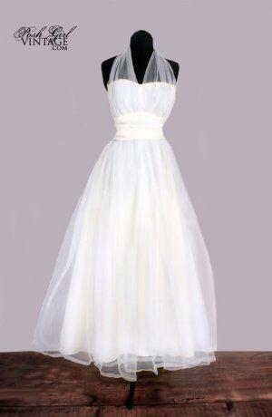 1950s Marilyn Monroe Style Halter Wedding Dress Gown