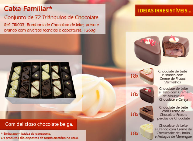 Já conhece os nossos triângulos de chocolate? Olhe que são uma delicia!