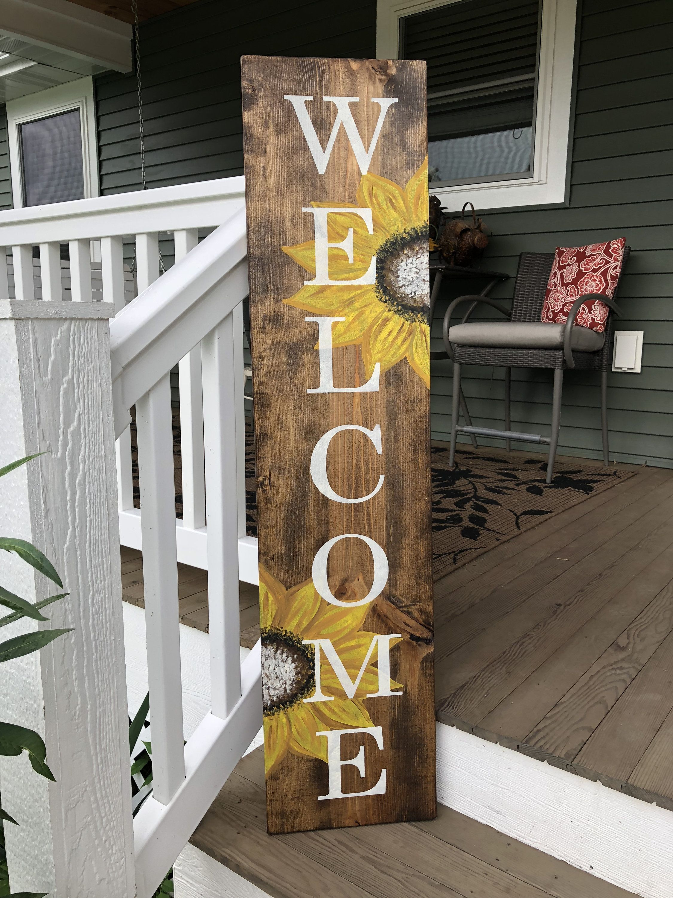 Sunflower Welcome Sign Sunflower Sign Painted Sunflowers Stained Welcome Sign Reclaimed Wood Welcome Wooden Welcome Signs Diy Wood Signs Cool Wood Projects