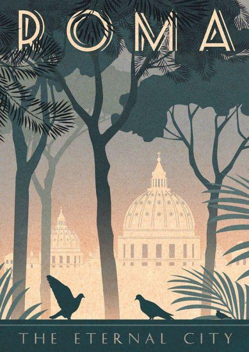 Rome Art Deco Poster Print Vintage Italy Vatican City