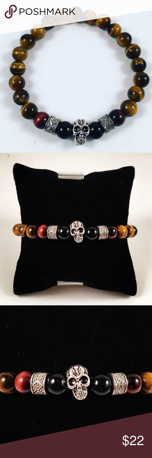 Men tiger eye , onyx, skull beaded bracelet. Men beaded bracelet. Fits most , 7.5 to 8.5 inch wrist. Handmade by me , never worn by anyone. Made with golden and red tiger eye, onyx and tibetan silver skull and deco charms. I ship fast!!✈️ Free gift with every purchase!! Accessories Jewelry