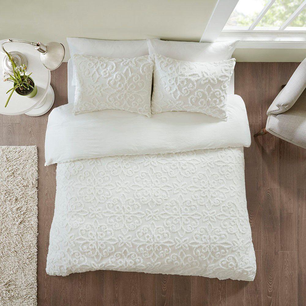 Sabrina 3 Piece Tufted Cotton Chenille Duvet Cover Set White