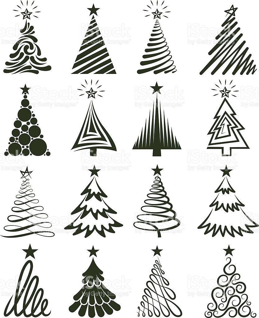Various Christmas Tree Collection Royalty Free Stock Vector Art Art De Noel Craft Dessin Noel
