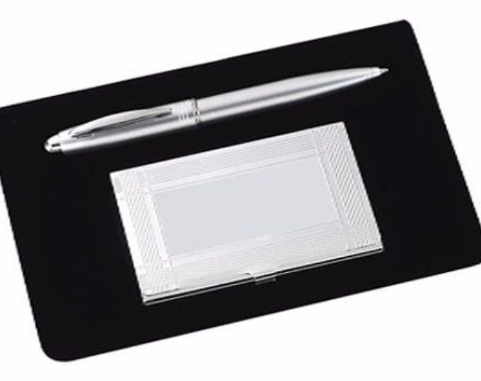 Free engraving personalization 2 piece office gift set business card free engraving personalization 2 piece office gift set business card holder and pen for him her coworkers boss executives friends teacher pinterest reheart Gallery