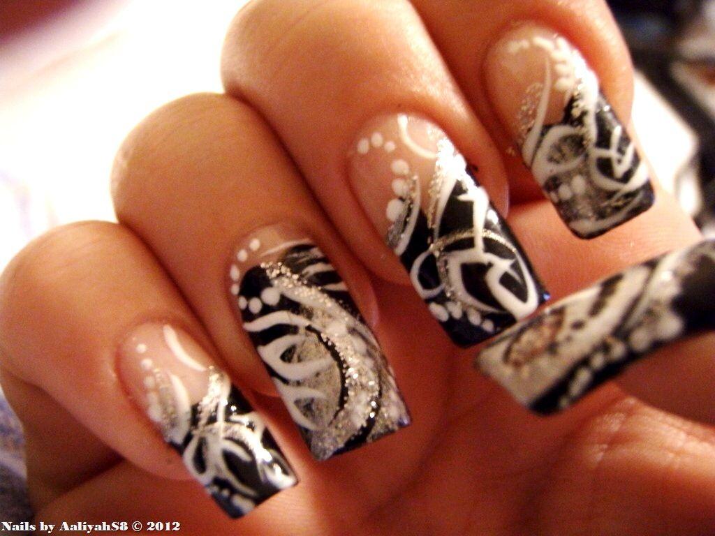 Cute Black White Nail Art Design
