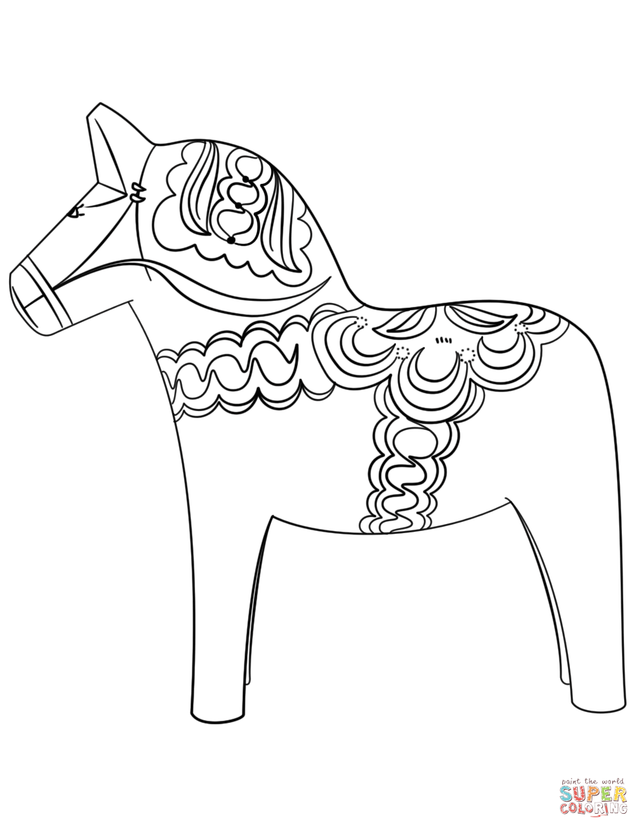 Swedish Dala Horse Coloring Page Free Printable Coloring Pages