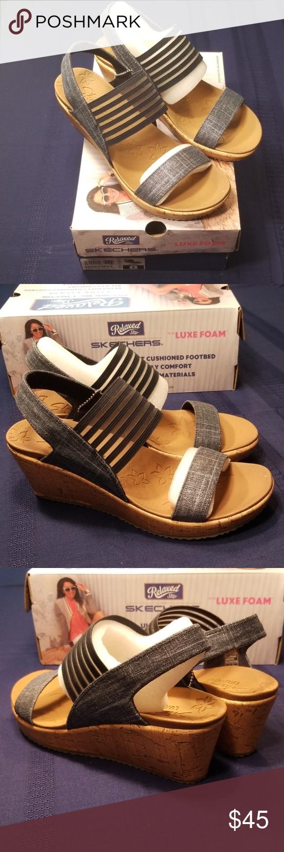 New Skechers Beverlee Smitten Kitten In Navy Blue Skechers Comfortable Sandals Skechers Shoes