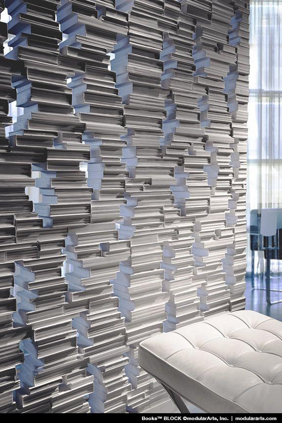 Library Book Wall Made From Interlocking Blocks Creating A