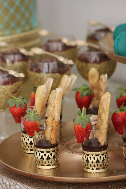 strawberry in cups dessert. table setting decoration. Gold for ...