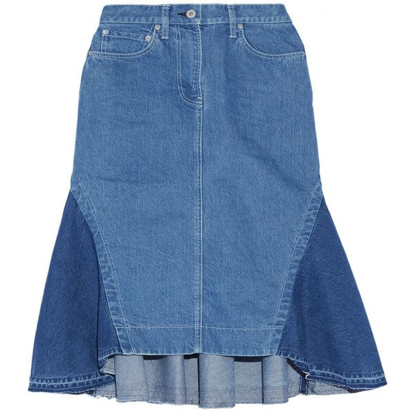 Sacai Flared denim skirt (925 BRL) ❤ liked on Polyvore featuring skirts, bottoms, mid denim, flared skirt, panel skirt, denim flare skirt, blue denim skirt and knee length flared skirts