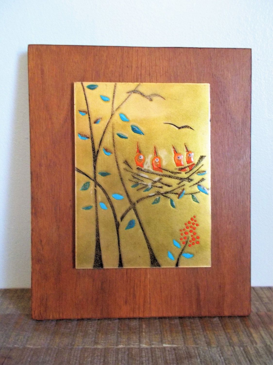 Mid Century Modern Judith Daner Enamel on Copper Teak Mounted Birds ...