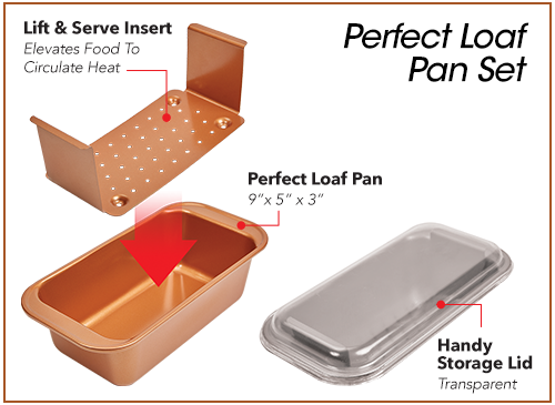5-in-1 Non-Stick Loaf Pan For Perfect Meatloaf, Cakes, Breads, Roasts & More | Copper Chef Perfect Loaf Pan™