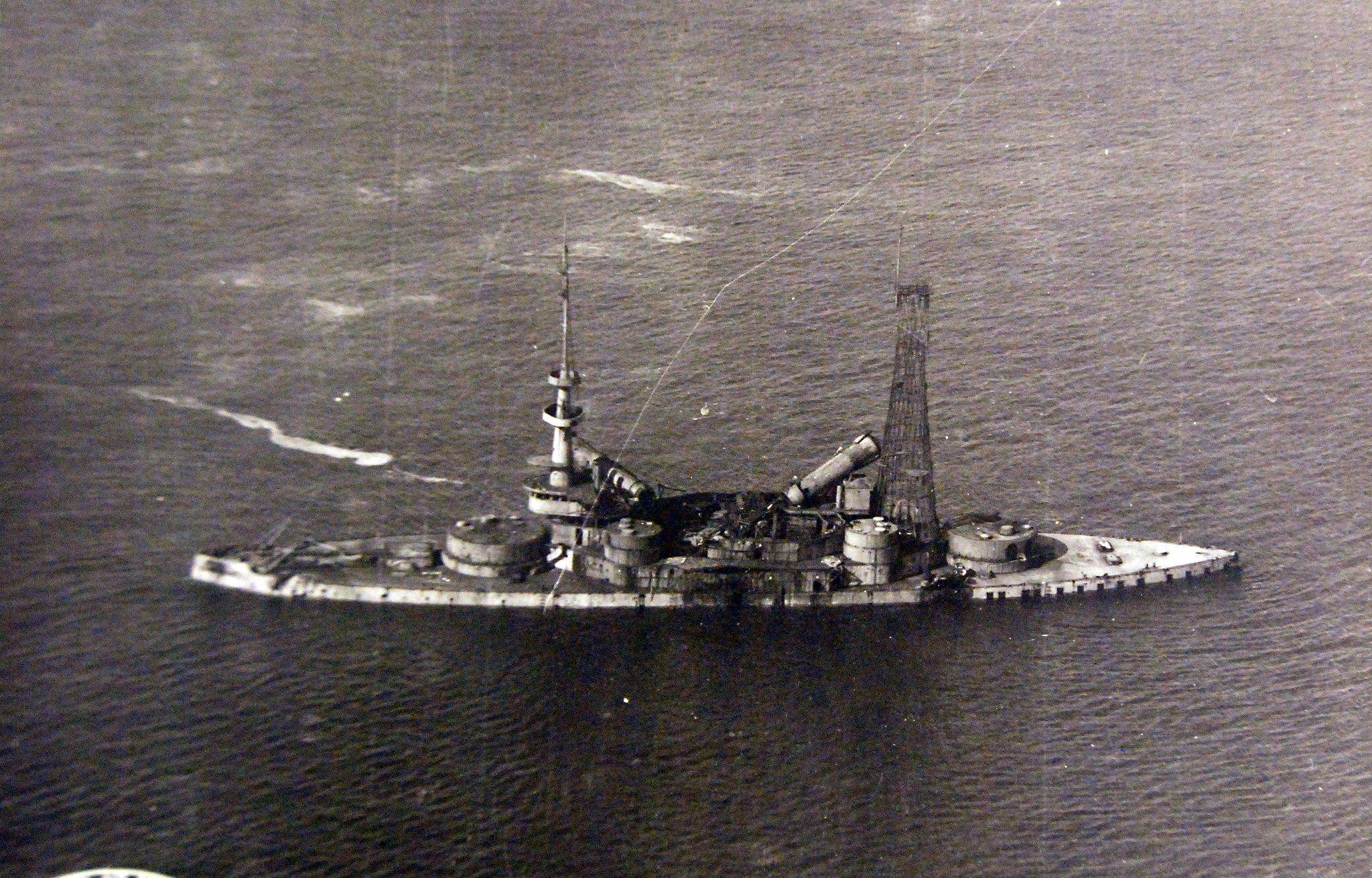 Antiship Bombing Demonstration, 1921 Shown: Us Navy Battleship, Uss  Indiana