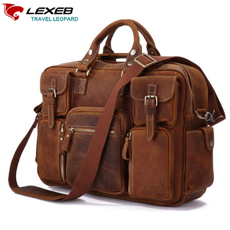 "137.49$  Watch here  - ""Trolley Travel Bag LEXEB Vintage Crazy Horse Genuine Leather Travel Bags 42 CM Hand Luggage Large Capacity Laptop Tote 15"""" Inch"""
