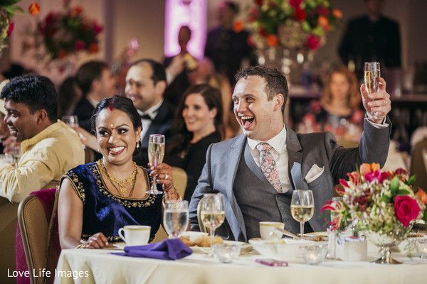 Indian couple toasting at wedding reception http://www.maharaniweddings.com/gallery/photo/102084