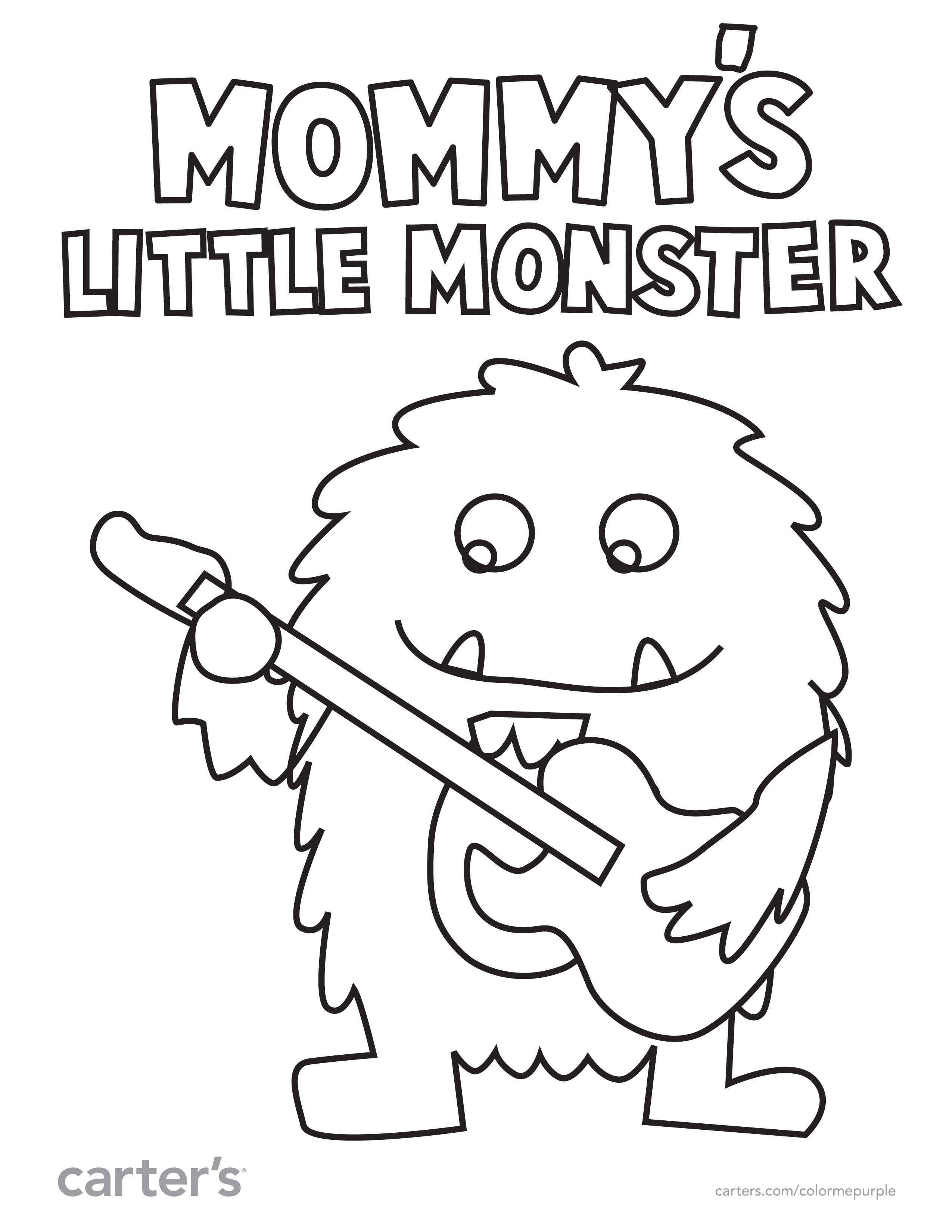 mommy u0027s little monster is ready to play other fun coloring pages