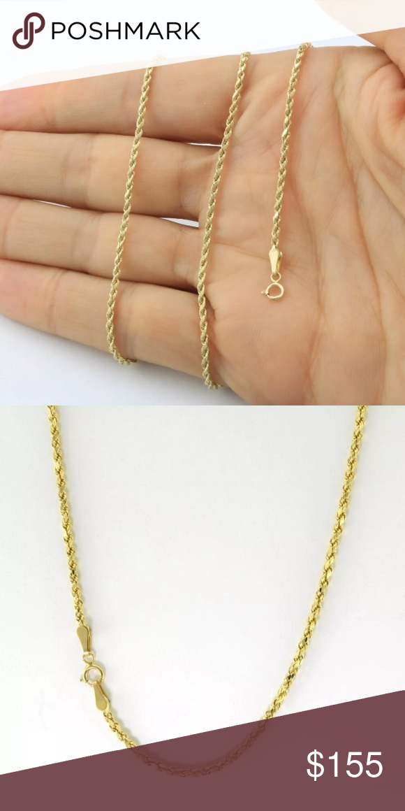 Real 10k Solid Gold 16 Rope Chain Women Necklace Womens Necklaces Gold Rope Chains Yellow Gold Chain