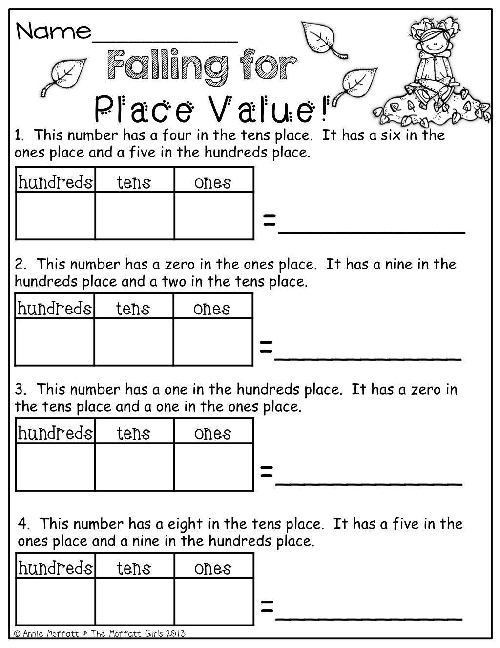 Place Value First Grade Worksheets In 2020 Second Grade Math Math 1st Grade Math