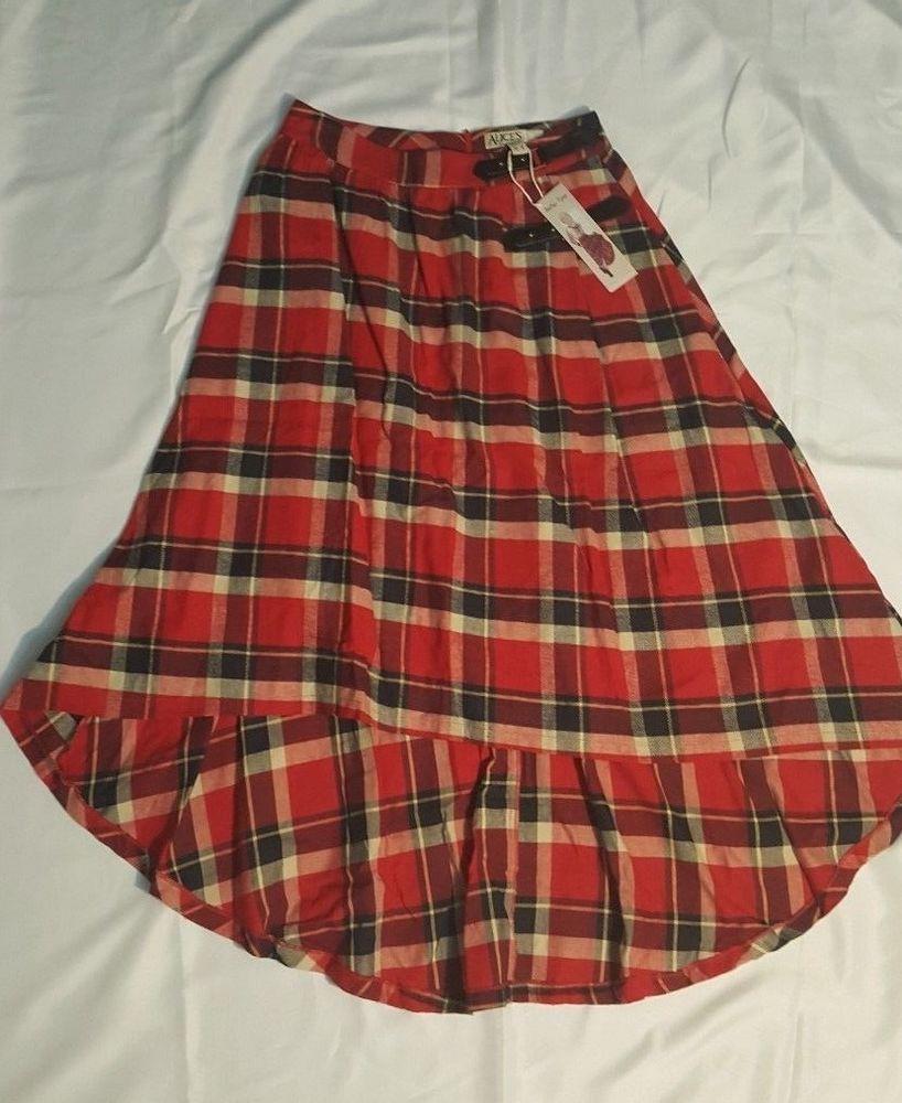 56654c2c48e191 Alice's Pig High Low Red Plaid D'jango Skirt NWT Sz 6 #alicespig  #FlareSkirthighlow