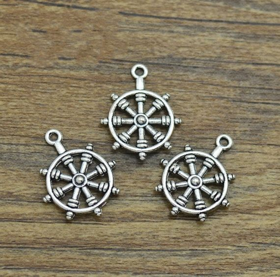 5/10/20/50 Ship Wheel Nautical Charms Antique by ChinaFindings88