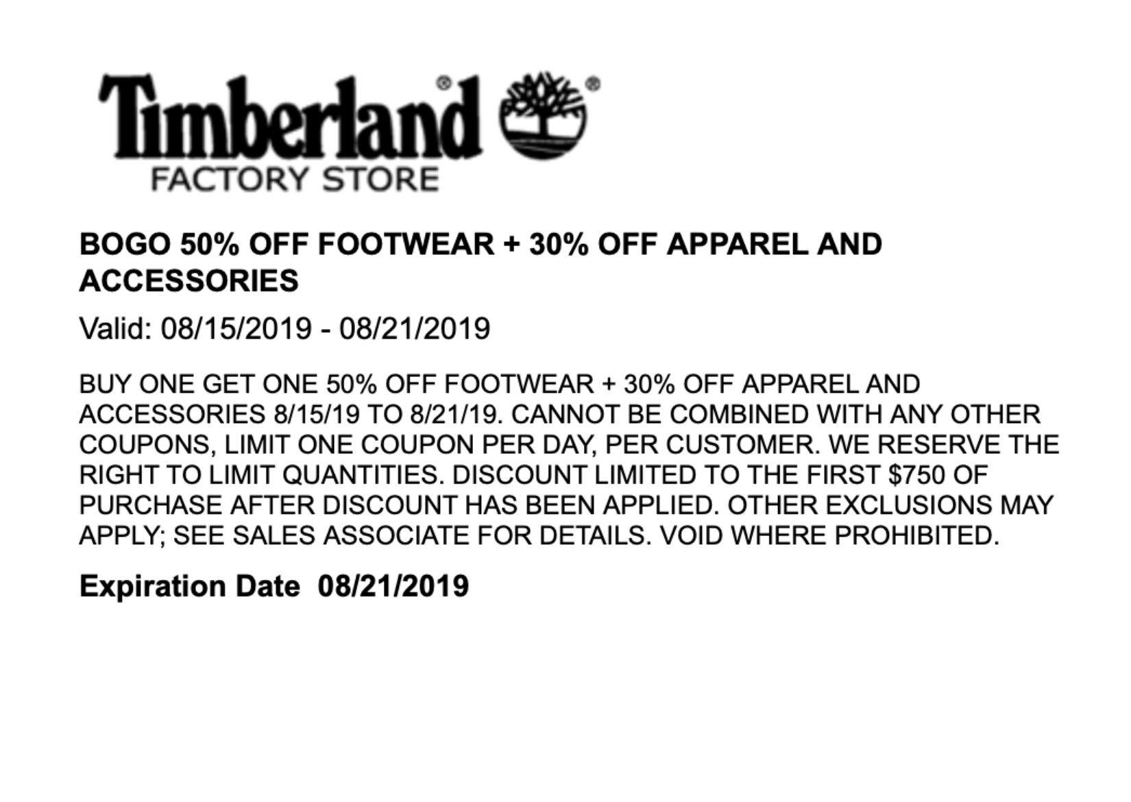 Timberland BOGO 50% FOOTWEAR + 30% OFF Lake Buena Vista