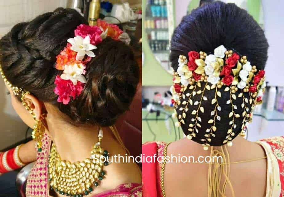 Indian Wedding Bun Hairstyle With Flowers And Gajra Indian Wedding Hairstyles Bun Hairstyles Flower Hair Accessories Wedding