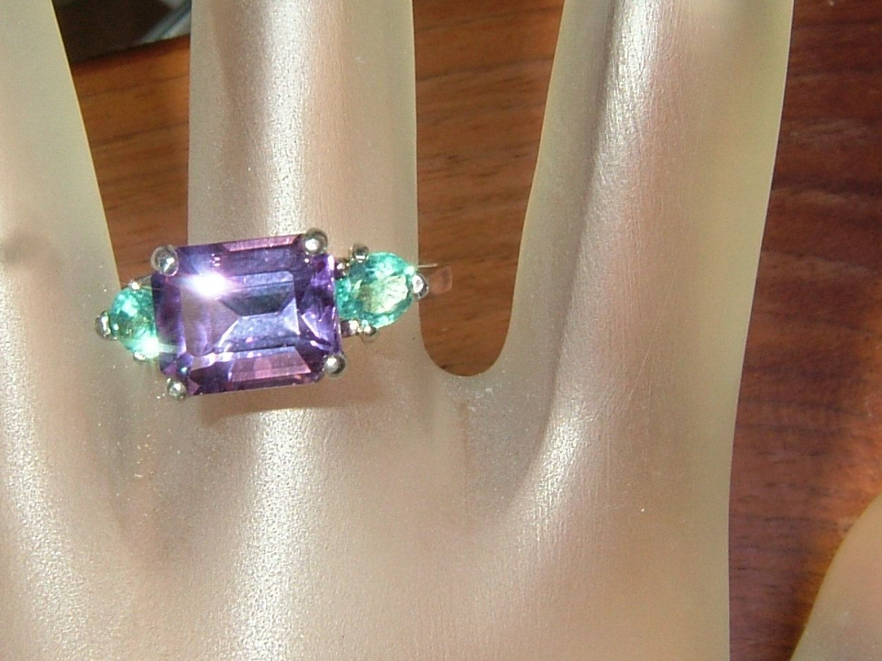 East West Bolivian Amethyst Ring Apatite Accents Sterling Silver by Gemsbygigialonia on Etsy *SOLD