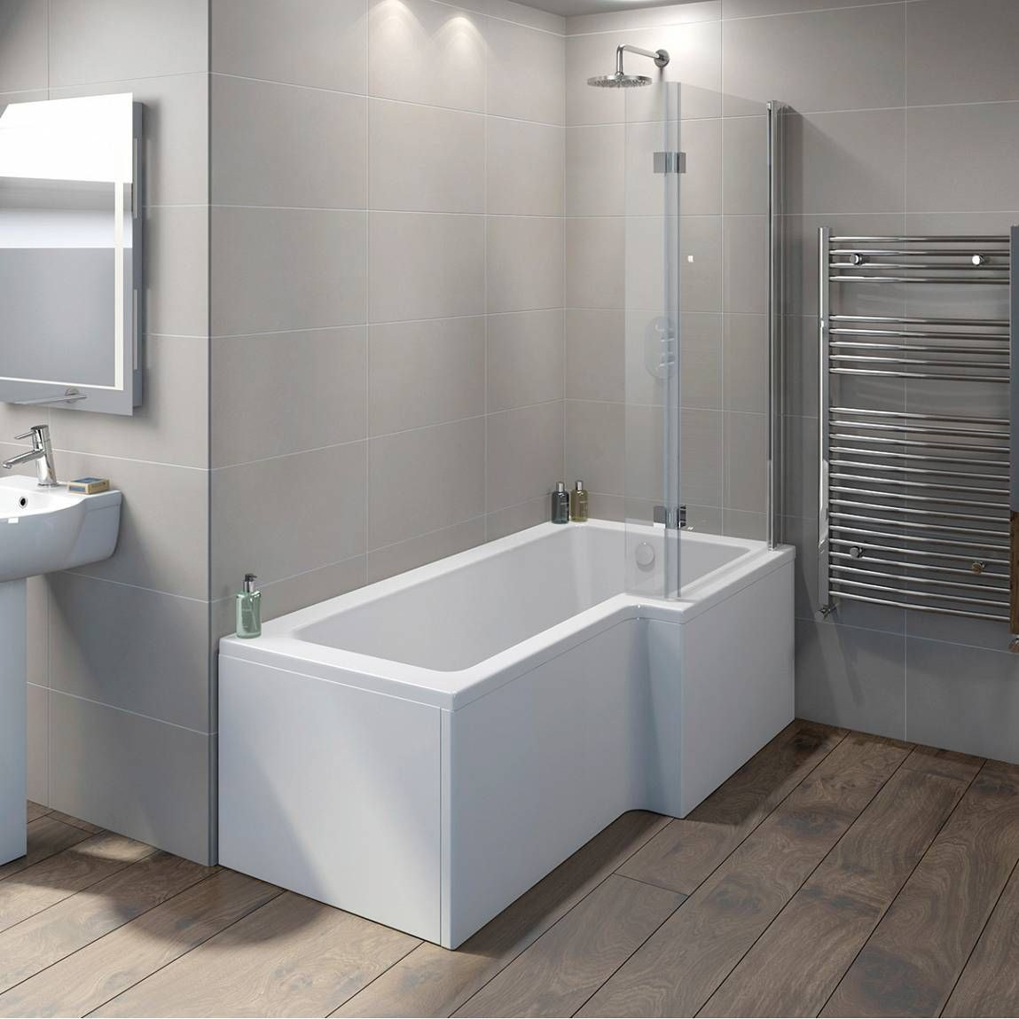 Boston Shower Bath 1500 x 850 RH with 8mm Hinged Screen - Victoria ...
