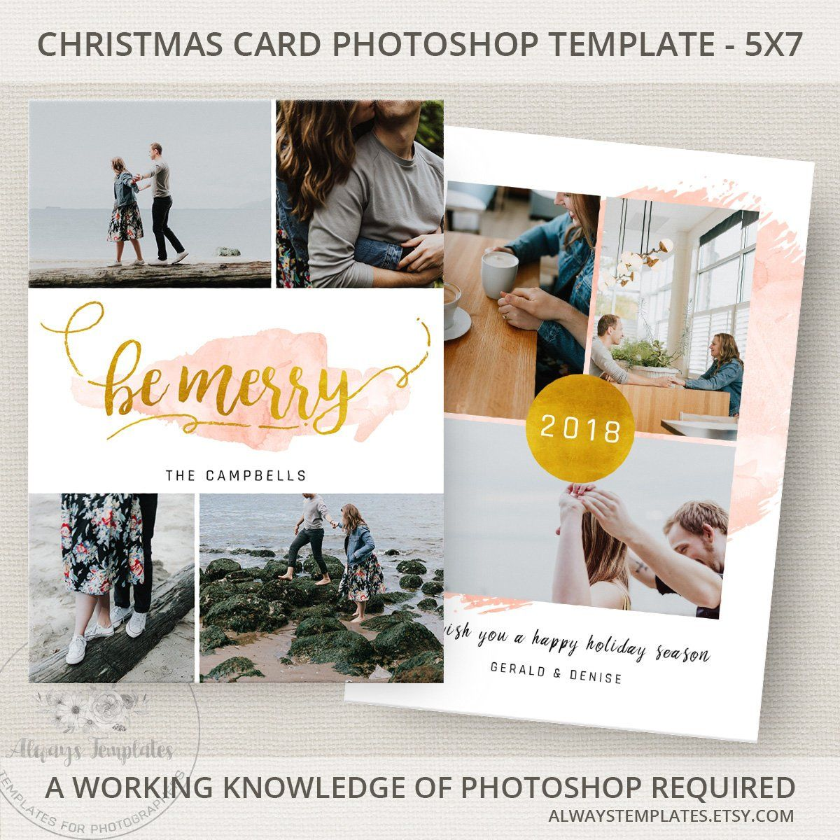 Christmas Card Template Photo Holiday Photoshop PSD 5x7 By AlwaysTemplates
