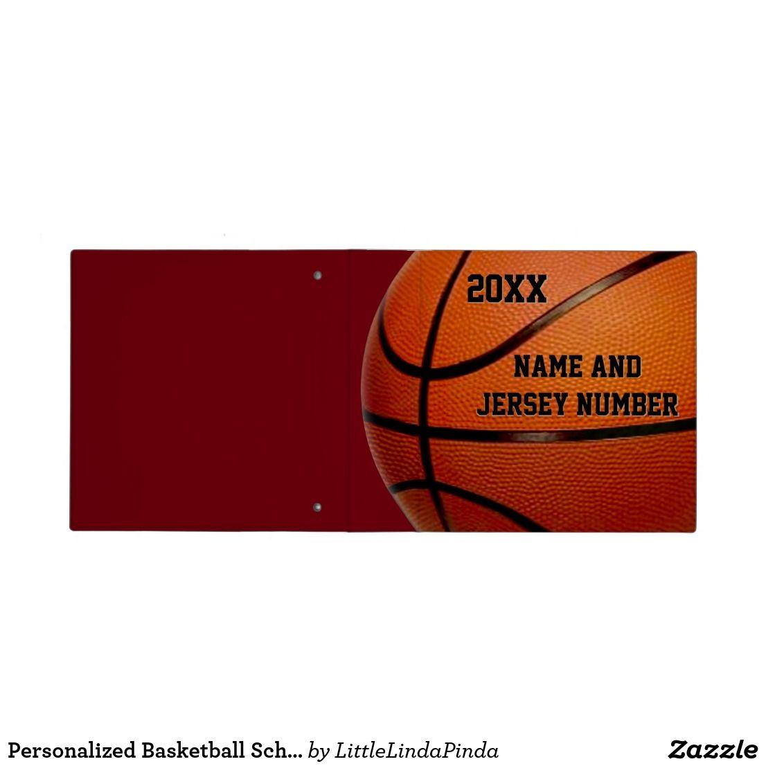 Personalized Basketball School Supplies, 3 Binder