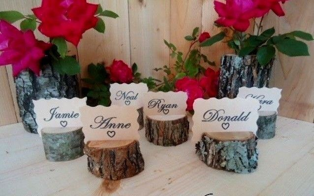 Log Place Card Holders|Set of 2 Rustic Wedding Decor|Place Card Holders|Rustic Place Card Holders|Woodland Baby Shower Decorations|