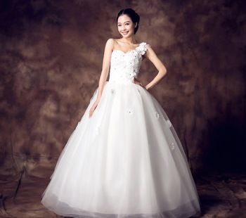 ball gowns one shoulder flower shoulder ball wedding dress belt off back tube wedding dress