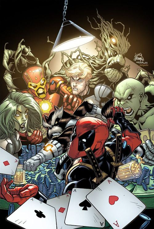 Deadpool and the Guardians of the Galaxy by Ryan Stegman  Deadpool is getting punched by Rocket Racoon, your argument is invalid.