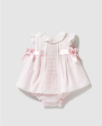c12e9ebc9976 Vestido de bebé niña Dulces en blanco con lazos   vestidos de niña ...