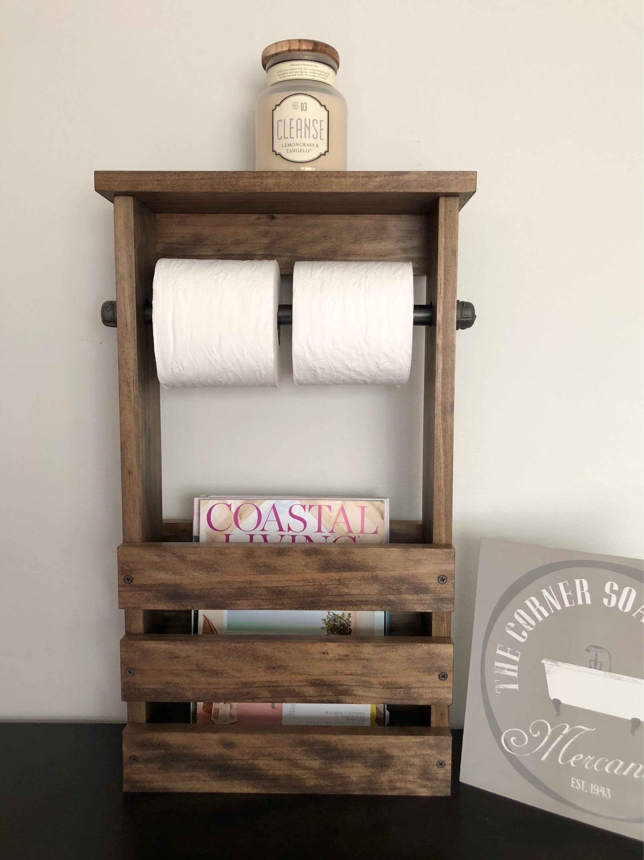 Bathroom Toilet Paper Holder And Magazine Rack With Shelf Rusti Farmhouse Toilet Paper Holders Free Standing Toilet Paper Holder Bathroom Toilet Paper Holders
