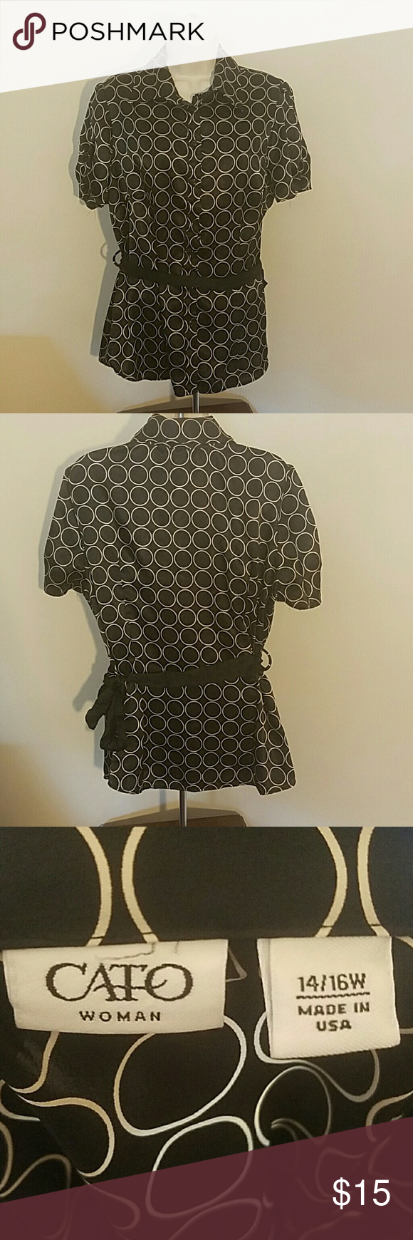 Black and Gold Blouse by Cato Size 14/16. Great condition. No tears, stains or snags. 100% polyester. Message me with any questions Cato Tops Button Down Shirts