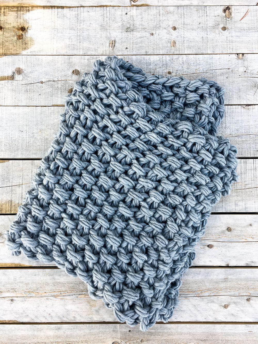 Arm Knit Seed Stitch Blanket Pattern | Arm knitting, Arm ...
