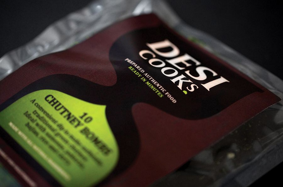 Packaging by Designers Anonymous for Asian food start-up Desi Cooks.