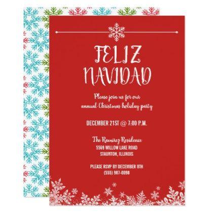 Feliz Navidad Snowflake Christmas Party Invitation Invitations