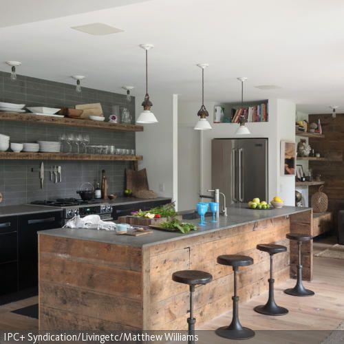 Küchentheke im Used-Look Rustic kitchen, Bunk bed and Kitchens - holzdielen in der küche