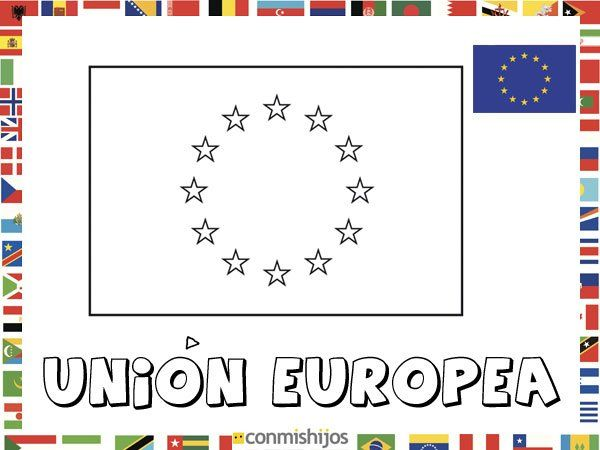 Pintar NiÑos Del Mundo Por Paises Y Banderas: Bandera De La Unión Europea. Dibujos De Banderas Para